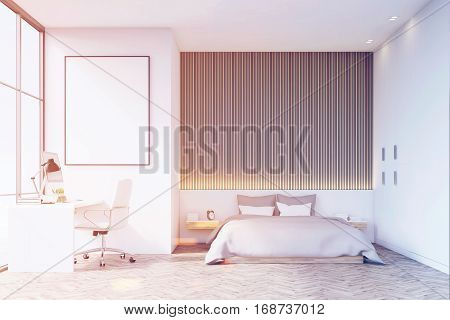 Bedroom With Wooden Floor And Table, Toned