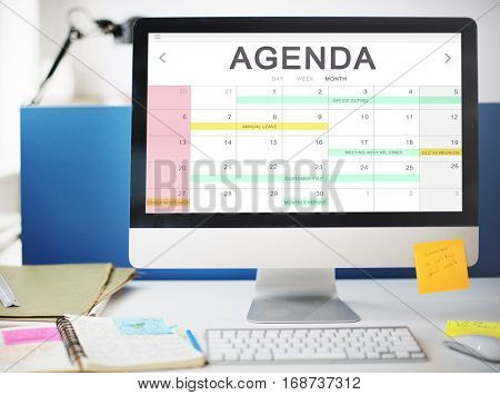 Calendar Agenda Event Meeting Reminder Schedule Graphic Concept poster