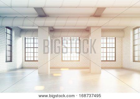 Empty Loft Room With Columns, Toned