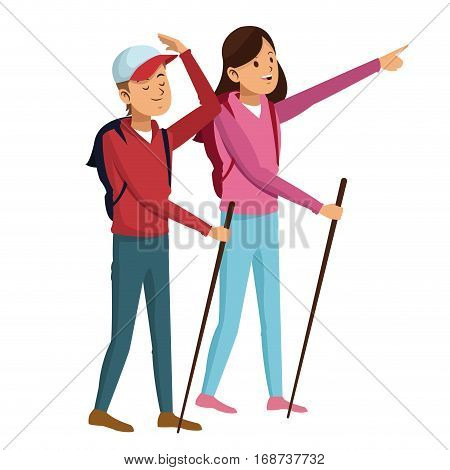 young couple hiking with backpack walking sticks vector illustration eps 10