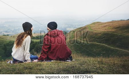 People Rear View Sitting Mountain Carefree Togetherness Concept