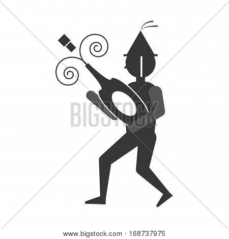 man uncovering a bottle of wine icon, vector illustration image