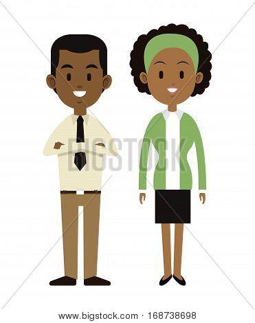 afroamerican couple happy cheerful vector illustration eps 10