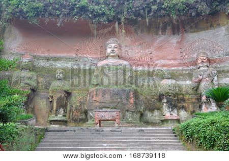 Vairocana Buddha, Leshan Giant Buddha, Sichuan Province, China. Leshan Giant Buddha is a UNESCO World Heritage Site since 1996.