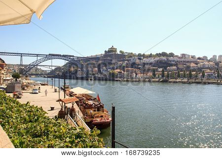 September 19 2012: The Spirit of Chartwell's boat (former Queen Elizabeth's boat) is docked by the Douro River. Porto Portugal