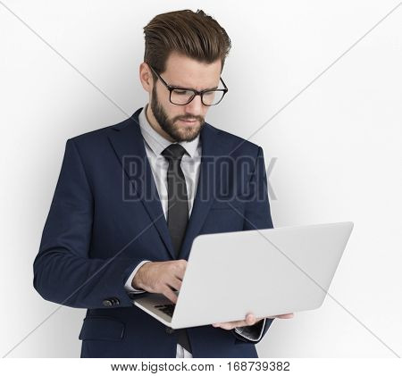 Caucasian Business Man Working Laptop
