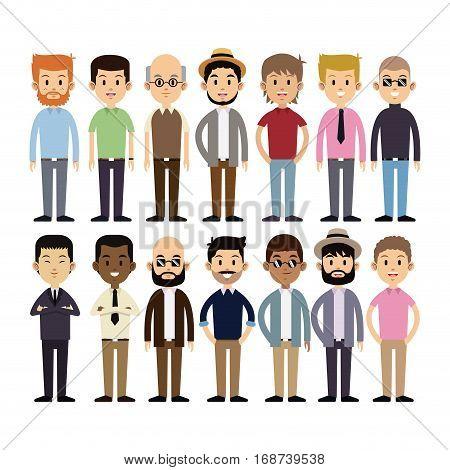 group men multi-cultural fashion vector illustration eps 10