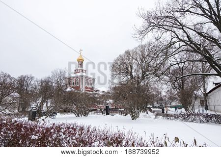 Novodevichy Convent, The Best-known Cloister Of Moscow, Russia And Was Proclaimed A Unesco World Her
