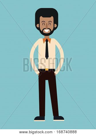 afro american man beard with tie shirt smiling vector illustration eps 10
