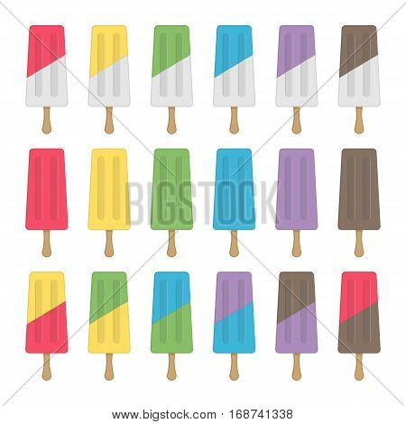 Ice Cream icon set. Popsicles different colors isolated on white background. Summer cold ice-creams or fruit juice ice. Flat vector illustration EPS 10.