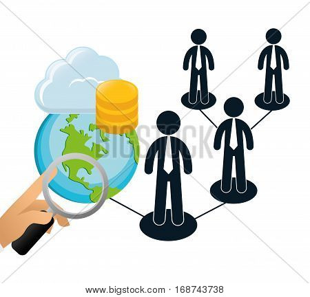 web hosting related icons image, vector illustration