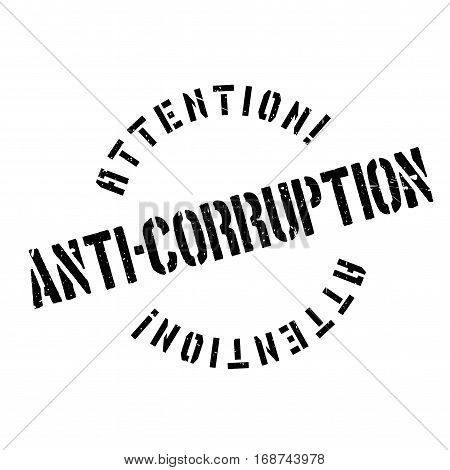 Anti-Corruption rubber stamp. Grunge design with dust scratches. Effects can be easily removed for a clean, crisp look. Color is easily changed.