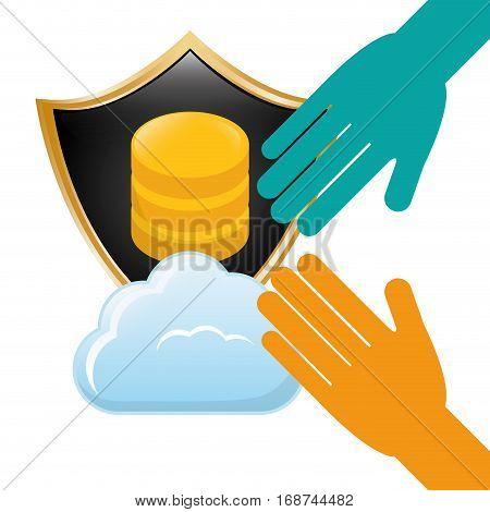 shield distributed data center icon, vector illustration