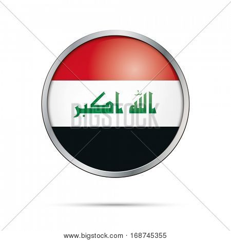 Vector Iraqi flag button. Iraq flag glass button style with metal frame.