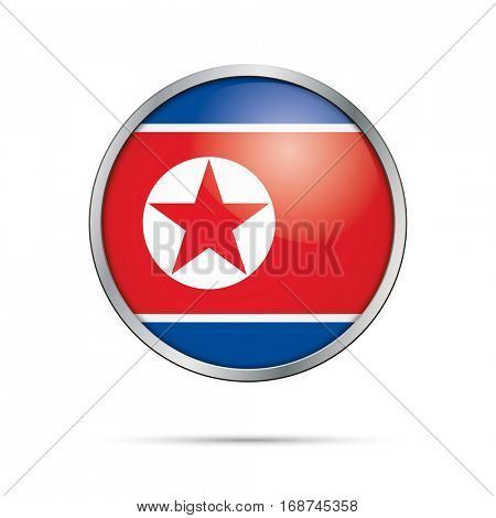 Vector North-Korean flag button. North Korea flag glass button style with metal frame.