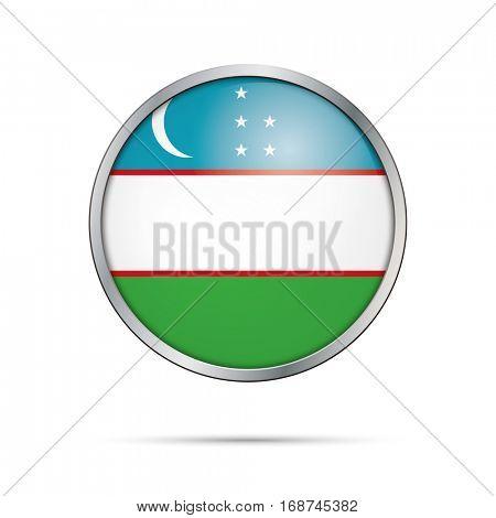 Vector Uzbekian flag button. Uzbekistan flag glass button style with metal frame.