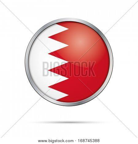 Vector Bahraini flag Button. Bahrain flag glass button style with metal frame.