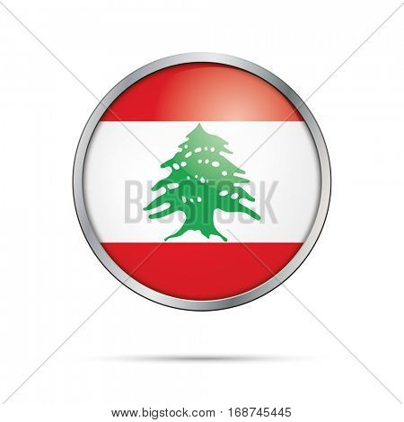 Vector Lebanese flag button. Lebanon flag glass button style with metal frame.