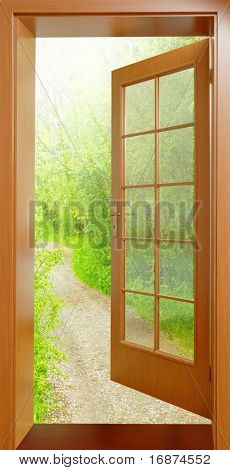 Opened door from tropical wood to early morning in green garden - conceptual image - environmental business metaphor.