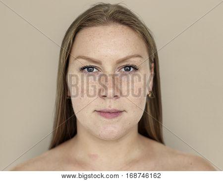 Woman Ginger Hair Bare Chest Portrait