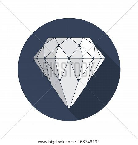 Diamond vector icon. Crystal symbol. Brilliant sign in flat design with long shadows. EPS 10.