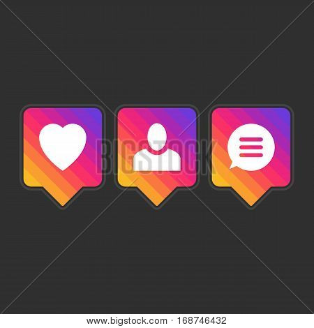 Like follower comment icon set. Bright colors social network icons pack isolated on black background. Notification tooltip with heart, user, speech bubble, counter. App symbol template. Vector EPS 10.