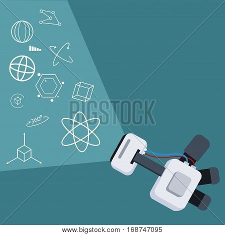 vr headset screen project 3d technology vector illustration eps 10