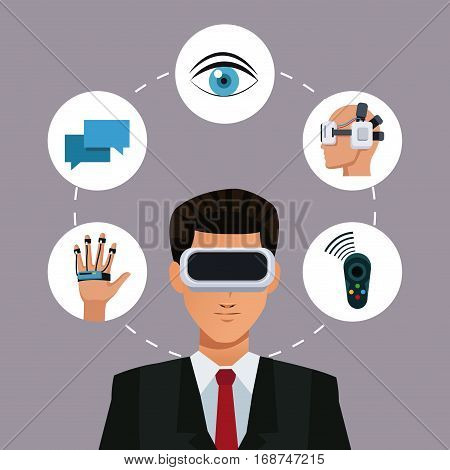 man virtual reality glasses connection wearable smart vector illustration eps 10