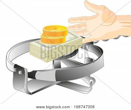 Money in trap as bait and stretching hand of the person