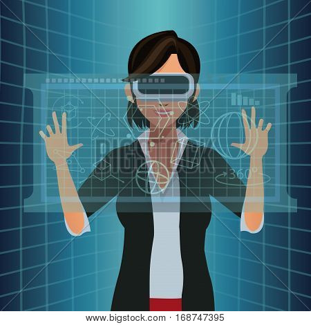woman with vr goggles touch diagram digital vector illustration eps 10