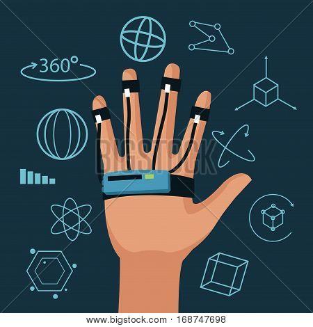 wired glove 3d technology digital vector illustration eps 10