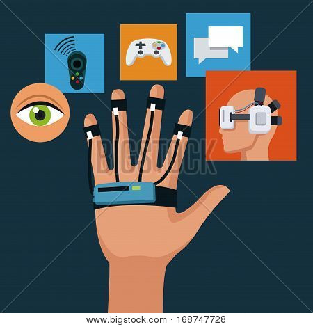 wired sensor glove technology creativity icons vector illustration eps 10