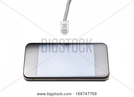 Smart phone with data cable plug against white background