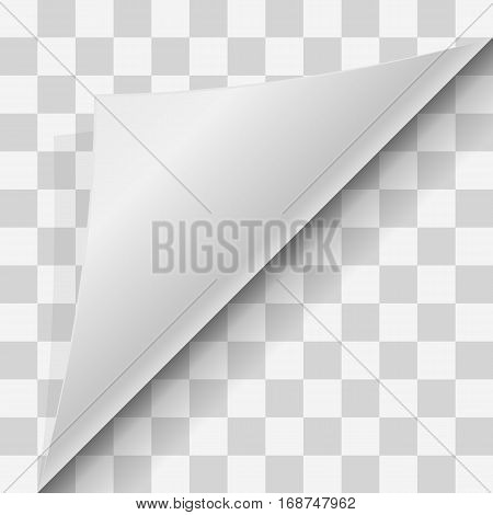 Curled corner of paper with shadow on transparent background. Page curl on blank sheet of Papers. Element for advertising and promotional message on transparent background. Vector illustration EPS 10.