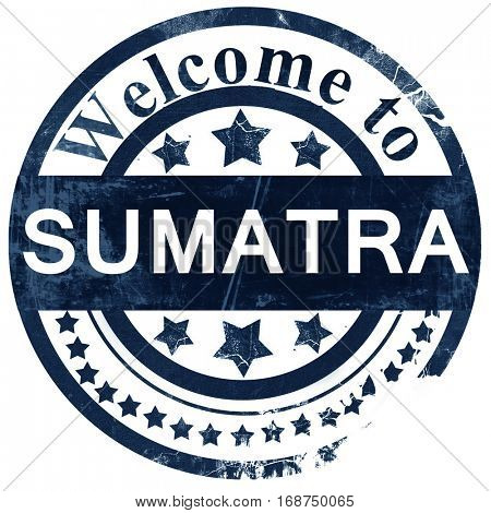 Sumatra stamp on white background