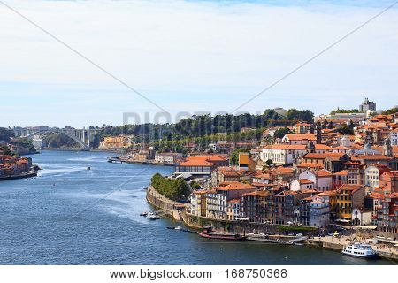 Panorama of the Douro river and Porto Skyline. Porto Portugal