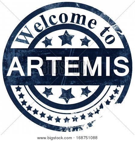 Artemis stamp on white background
