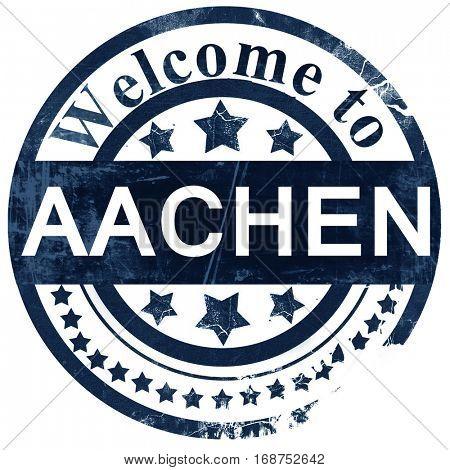 Aachen stamp on white background