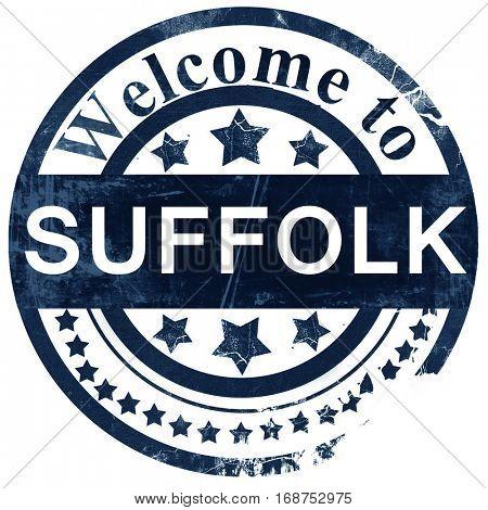 Suffolk stamp on white background