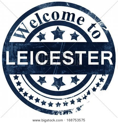 Leicester stamp on white background