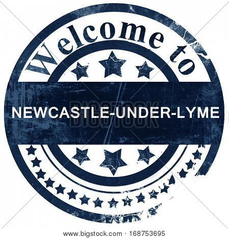 Newcastle-under-lyme stamp on white background