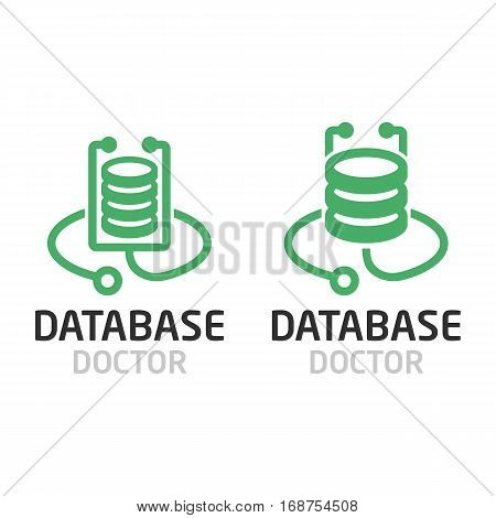 Database doctor logo. Computer server line icon.