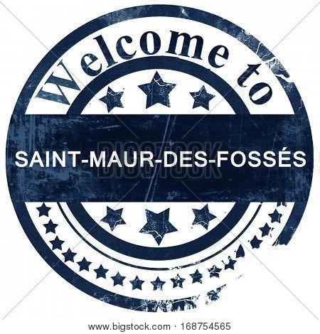saint-maur-des-foss�©s stamp on white background