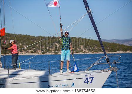 ERMIONI, GREECE - OCT 5, 2016: Sailors participate in sailing regatta 16th Ellada Autumn 2016 among Greek island group in the Aegean Sea, in Cyclades and Saronic Gulf.