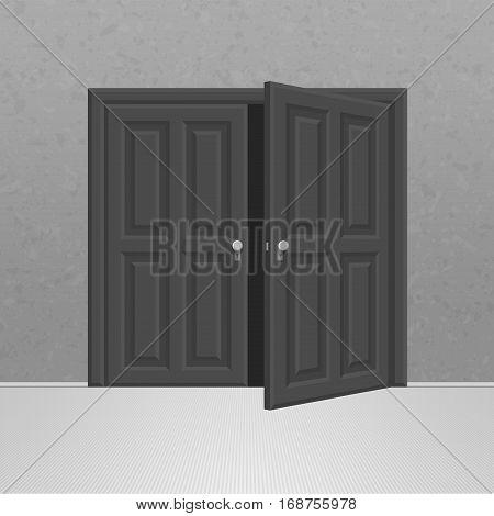 Open black double wooden door. Realistic vector Illustration of opened classic doors on dark wall. EPS 10.