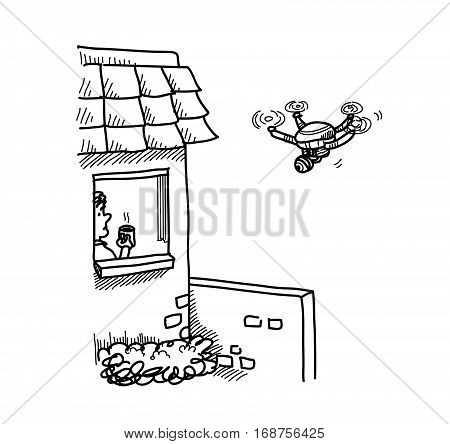 Hand drawn doodle illustration of a Spying Camera Drone is Breaching someone's private property