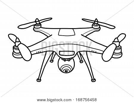 Camera Drone Doodle, a hand drawn vector doodle illustration of a camera drone.