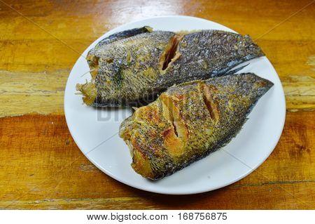 deep fried snake skin gourami on dish