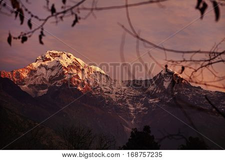 Amazing Sunrise Over White Snow Capped Summits And Passes Of The Annapurna Mountain Range. Beautiful