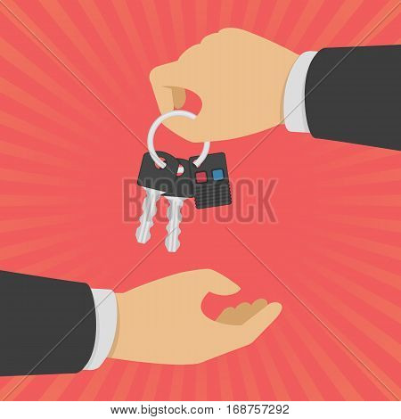 Hand giving car keys with keyholder of the alarm system. Auto rental or sale concept in flat style. Vector Illustration EPS 10.